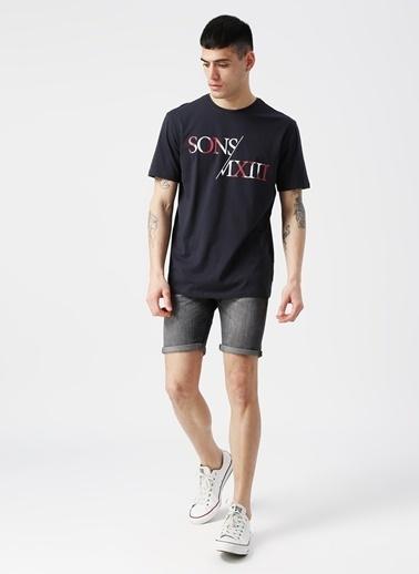 Only & Sons Only & Sons Baskılı Yazılı Koyu Lacivert T-Shirt Lacivert